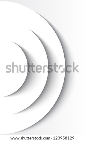 White abstract circles with drop shadow background - stock photo