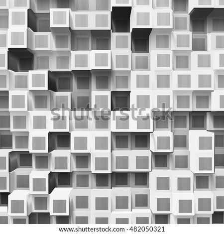 white abstract cubes, 3d illustration