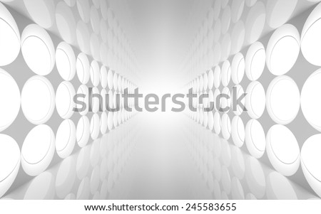 White abstract 3d interior with round decoration lights pattern on the wall - stock photo