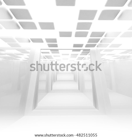 White abstract empty corridor interior perspective. 3d illustration