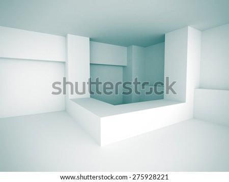 White Abstract Futuristic Design Interior Background. 3d Render Illustration - stock photo