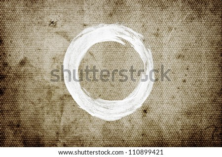 White abstract hand-painted brush stroke daub over vintage old grungy paper - stock photo