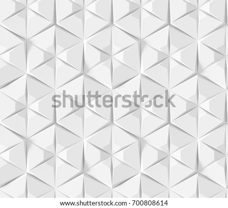 White Abstract Hexagonal Geometric Pattern Origami Paper Style 3D Rendering Seamless Texture