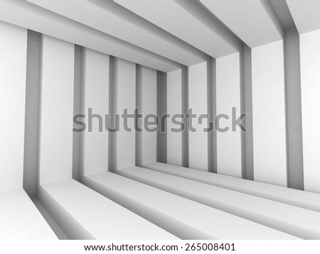 White Abstract Modern Architecture Interior Background. 3d Render Illustration - stock photo