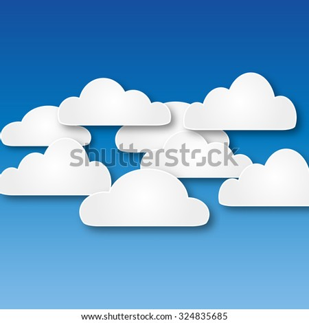 White abstract paper clouds at blue background illustration