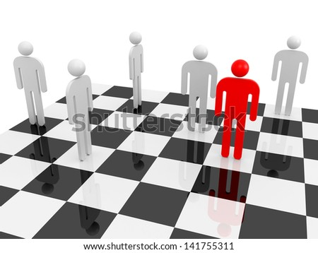 White abstract people with one red individual figure on a chessboard - stock photo