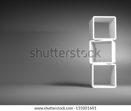 White Abstract Rectangle Frames Standing in the Empty Gray Room - stock photo