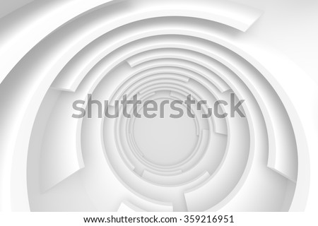 White Abstract Tunnel, 3d Modern Design - stock photo