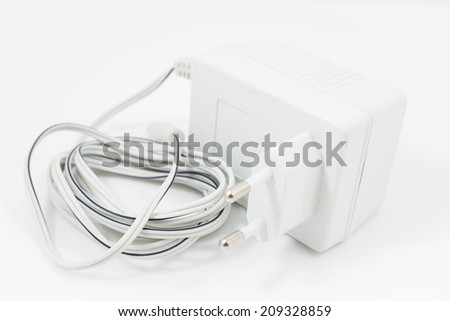 White adapter isolated on white background, stock photo - stock photo