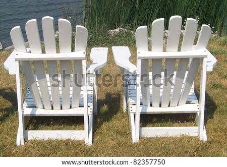 White Adirondack Chairs - stock photo