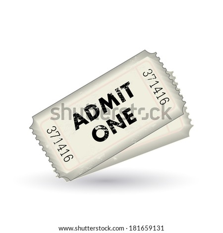 White admit one tickets isolated on a white background. Vector file available. - stock photo
