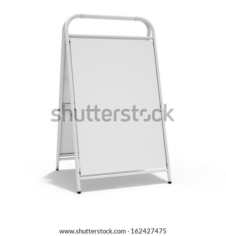 White Advertising Billboard Standing Isolated on White Background  - stock photo