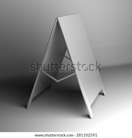 white advertising stand.  - stock photo