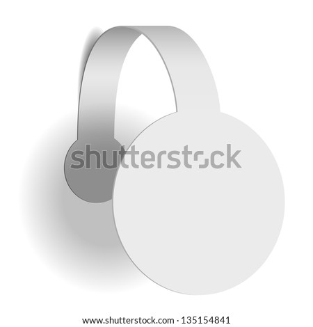 White advertising wobbler isolated on white background. See also vector version - stock photo