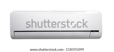 white air conditioner isolated on white - stock photo