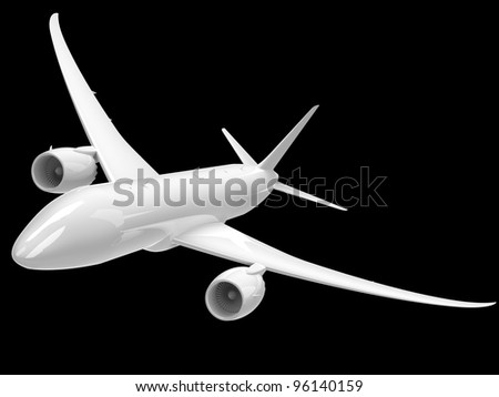 White aircraft on black background banking right.