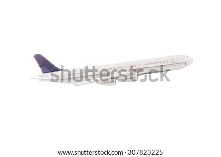 White airplane isolated on over white background