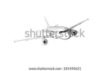 White airplane isolated on white