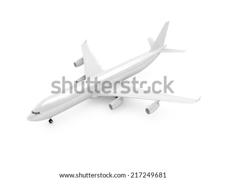 White airplane on a white background - stock photo