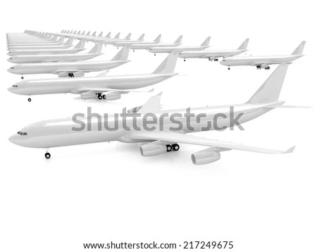 White airplanes on a white background - stock photo