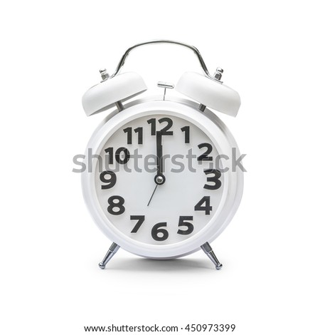 White alarm clock at 12 o'clock, midnight, middle of day, noon time isolated on white background with clipping path: Modern clean analog timer wake up machine with ringer bell & number of 24 hour time - stock photo