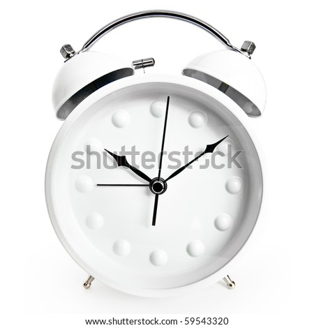 White alarm clock on white - stock photo