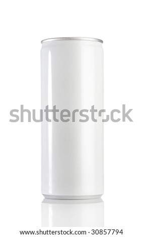 White aluminum can on white background - stock photo