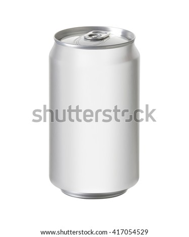 white aluminum can with blank copy space, ideal for beer, lager, alcohol, soft drink, soda, lemonade, cola, energy drink, juice, water, etc., Realistic photo image with clip path - stock photo