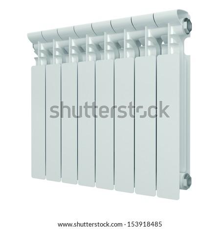 White aluminum heating radiator. - stock photo