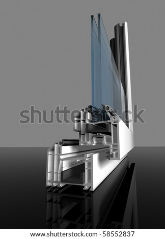 white aluminum window cut out with glass - stock photo