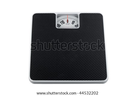 White analog bathroom scale isolated on white, showing zero kilograms - stock photo