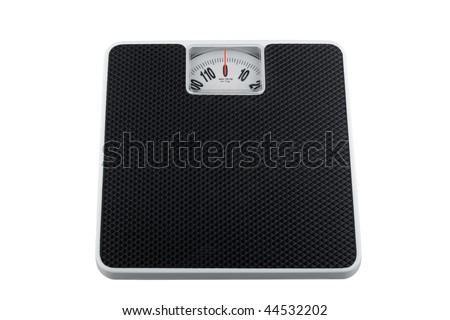 White analog bathroom scale isolated on white, showing zero kilograms - stock photo