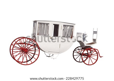 White ancient carriage with red wheels, it is isolated on a white background - stock photo