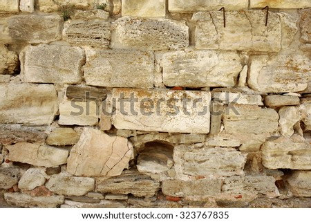 White Ancient  Rough Limestone Wall Background Texture
