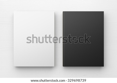 White and black books, mock up 3D Render - stock photo