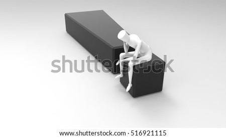 White And Black 3D Illustration Of A Mannequin Person Sitting And Thinking On A Giant Exclamation Mark