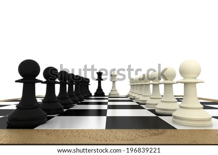 White and black pawns facing off with king and queen on white background - stock photo