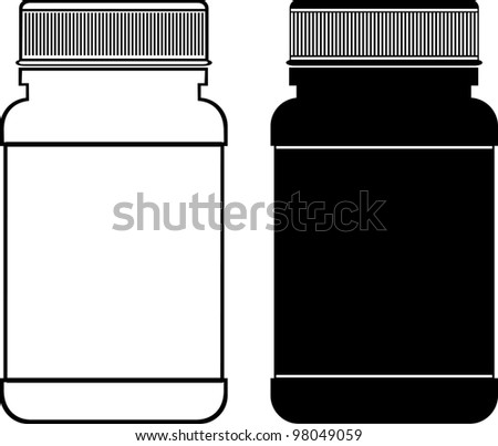 white and black pill bottle on white background.  Illustration - stock photo