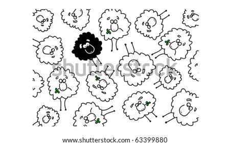 White and black sheep background illustration - stock photo