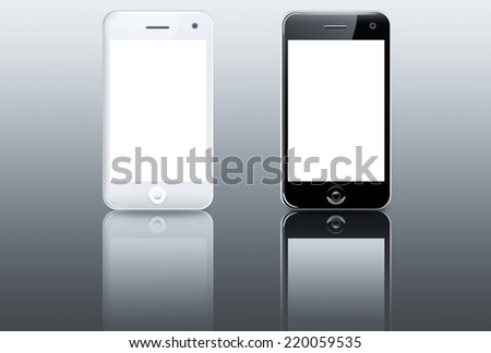 White and black smartphone (mobile phone) with blank screen on reflective table - stock photo