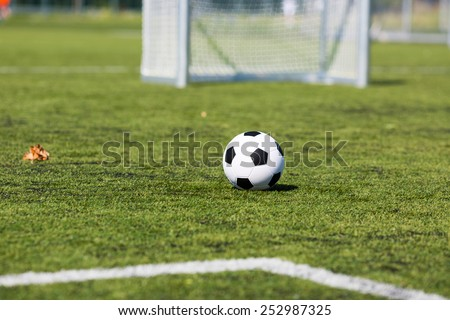 White and black soccer ball in front of small soccer goal. - stock photo