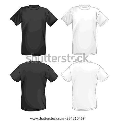 White and black T-shirt design template (front & back), illustration isolated on white background