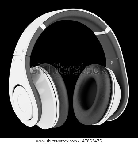 white and black wireless headphones isolated on black background - stock photo