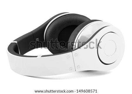 white and black wireless headphones isolated on white background - stock photo
