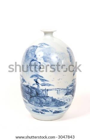 White and Blue antique Oriental Vase with hand painted design on white background