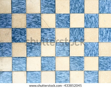 White and blue chessboard, abstract background. - stock photo