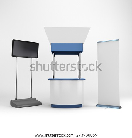 white and blue portable booth or kiosk with tv display. 3D rendering - stock photo