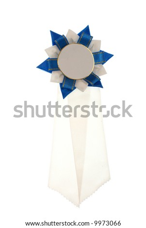 white and blue ribbon isolated - stock photo