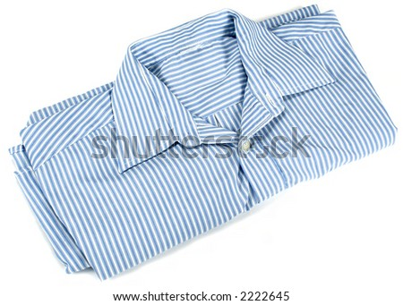 white and blue shirt paked.isolated on white