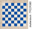White and blue tile checkerboard on mable floor - stock photo